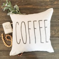 """Rae Dunn Inspired Coffee 20"""" Pillow Cover"""