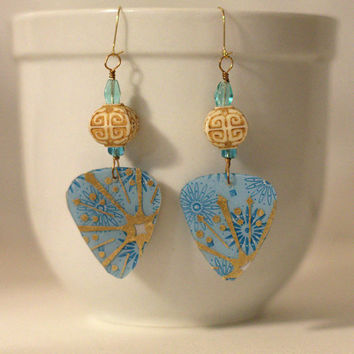"20% off CIJ - 3 week SALE  - Light blue and gold ""Guitar Pick"" earrings, beaded dangle earrings. Brass."