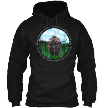 Highland Cow My Heart's In The Highlands Robert Burns Poem Pullover Hoodie 8 oz