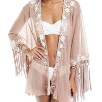 Flora Bella Azmara Open-Front Embroidered Mesh Kimono Coverup and Matching Items