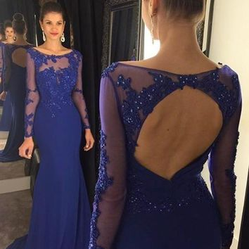 Sexy Royal Blue Long Sleeve Prom Dresses 2017 Floor Length Open Back Beaded  Lace Mermaid Evening a24cc46a261a