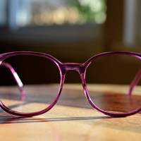 Retro 1980s Large Round Purple Eyeglasses - Boho, Geeky, Fun