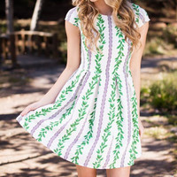 In The Gardens Green Print Dress