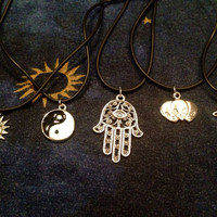 Hamsa Saturn Alien Sun Moon Yin Yang Choker Charm Tattoo Grunge Hipster Necklaces