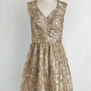 Twinkling at Twilight Sequin Dress in Champagne