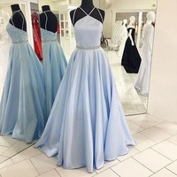 Halter Blue Long Prom Dress, Blue Evening Dress