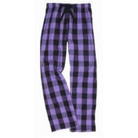 Violet Purple and Black Big Check Flannel Tie Cord pants, Unisex Sizes