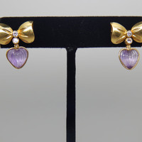 Vintage 18K Yellow Gold Diamond and Amethyst Heart and Bow Earrings