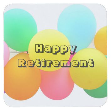 Happy Retirement Balloons Square Paper Coaster