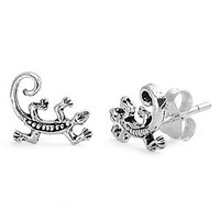Sterling Silver Lizard Stud Earrings