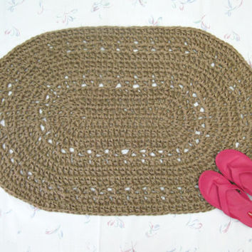 Oval Jute Rug - Crochet Jute Rug - Natural Fiber Rug - Kitchen Mat - Throw Rug - Door Mat - Hippie Rug - Hippy Rug - Sustainable Fiber Rug