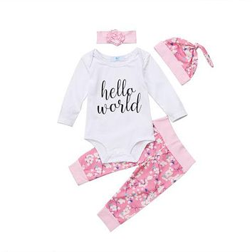 4PCS Newborn Baby Girl Clothes Hello World Tops Romper+Floral Long Pants+Hat Outfits Clothing Set 0-24M