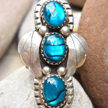 Blue Paua Shell Sterling Silver Ring, Southwest, Vintage Signed sz 7