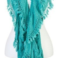 collection eighteen Women's Tassle Border Pointelle Boa Cold Weather Scarf, Lagoon Aqua, One Size