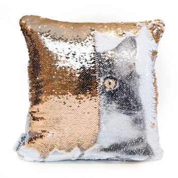 Cat Cushion: Reveal your Cat on a Magic Sequin Pillow! BONUS: Includes Hypoallergenic Pillow Insert!