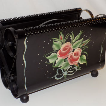 Black Handpainted Tole Metal Magazine Rack Holder