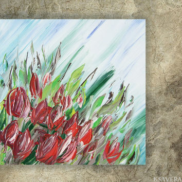 Red tulips Painting floral wall art FREE SHIPPING palette knife impasto KSAVERA Modern blue green paintings on canvas acrylic spring