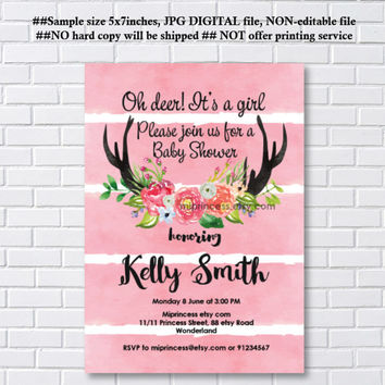Best deer baby shower invitations products on wanelo deer antler baby shower woodland baby shower invitation boho antler boy baby shower filmwisefo