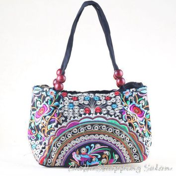 New National Ethnic Embroidery Bags Handmade Peony Butterfly Double Face Embroidered Shoulder Bag Women's Wood Beads Handbag