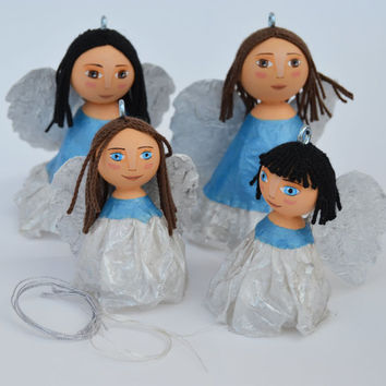 Angels - Christmas Tree Ornament - Original Kokeshi Dolls - Mixed Media - Christmas Decoration