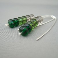 Green Ombre Earrings. Czech Glass and Sterling Silver Ombre Earrings. | The Silver Forge Handcrafted Jewellery