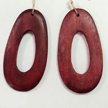 African wood earrings dangles jewelry for woman