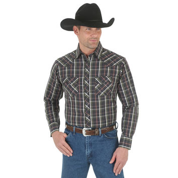 Wrangler Mens Long Sleeve Western Fashion Snap Plaid Shirt Grey/Black