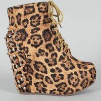 Berkeley-02 Leopard Studded Spike Lace Up Wedge Bootie