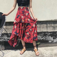 Print Skirt Ruffle Sea Vacation High Waist Chiffon Dress Scales [11485884751]
