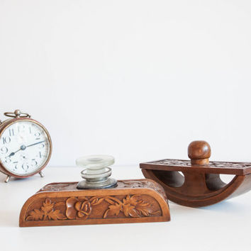Antique Inkstand, Inkwell and Blotter, Wooden Hand Carved Calligraphy Desk Set, Flower Carvings, Brown Autumn Office Decor Office Stationery