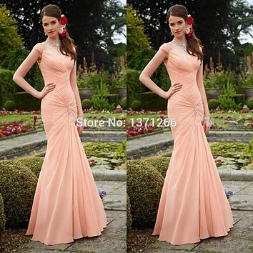 2017 New Arrival Peach Color Cap Sleeve Long Bridesmaid Dresses Brides Maid Dresses Free Shipping