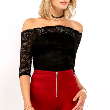 Lace Overlay Off-The-Shoulder Top