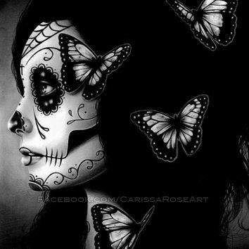 5x7, 8x10, or apprx. 11x14 in Art Print - Flutter By - Day of the Dead Sugar Skull Girl Black and White Portrait