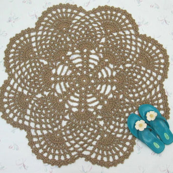 Round Flower Jute Rug - Natural Fiber Rug - Large Round Throw Rug - Scatter Rug - Area Rug - Outdoor Rug - Hippie Decor - Sustainable