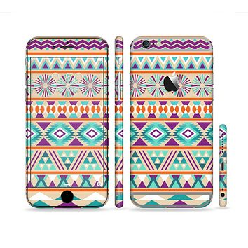 The Tan & Teal Aztec Pattern V4 Sectioned Skin Series for the Apple iPhone 6s Plus