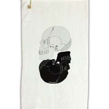 """White And Black Inverted Skulls Micro Terry Gromet Golf Towel 11""""x19 by TooLoud"""