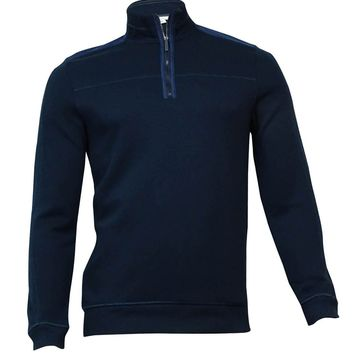 Calvin Klein Men's Quarter-Zip French Ribbed Knit Sweater (S, Officer Navy)