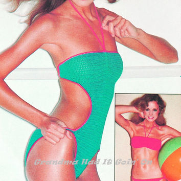 Vintage Crochet Bikini Pattern - Halter Swimwear - Bathing Suit - Crochet Pattern - PDF Instant Download - Digital Pattern - workout outfit