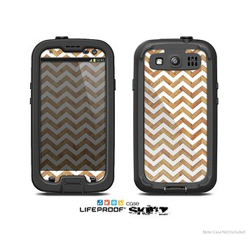 The Wood & White Chevron Pattern Skin For The Samsung Galaxy S3 LifeProof Case