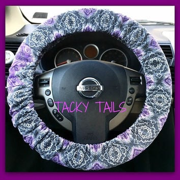 Steering Wheel Cover, Car Accessory, Blue Owls, Elastic, Steer Cover, Car Decor, Car Gift, Automobile Gift, Steering wheel cover with grip