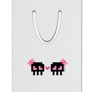 8-Bit Skull Love - Girl and Girl Aluminum Paper Clip Bookmark