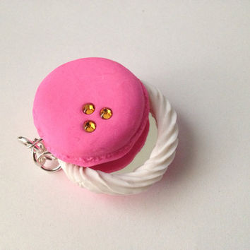 Strawberry French Macaroon Charm with a mini mirror
