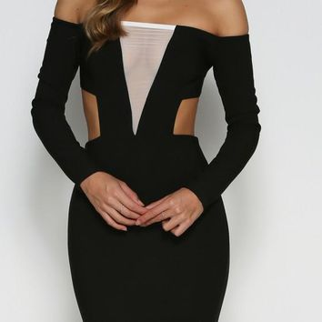 Black Patchwork Grenadine Zipper Cut Out Bodycon Homecoming Party Boat Neck Mini Dress