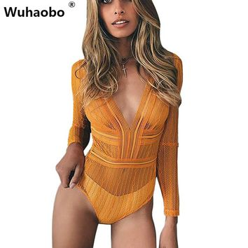 Wuhaobo Sexy Yellow Striped Mesh Transparent Bodysuits Women Long Sleeves V-Neck Skinny Body Jumpsuit Club Romper Lace Leotard
