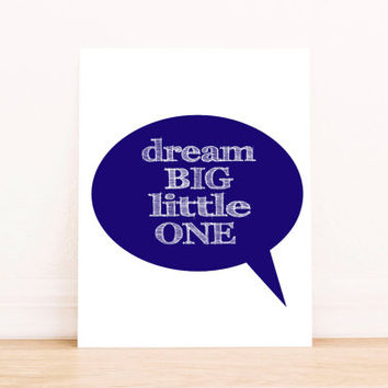 Nursery Art Printable  Dream Big Little One Wall Art Hot Air Balloon Watercolor Navy Blue Typography Print Kids Room Decor INSTANT DOWNLOAD