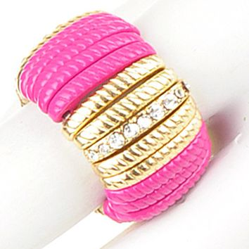 Pink Bar w Gold & Crystals Ring