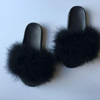 DCCKDW7 Black fur slides fuzzy slippers furry slides faux fur