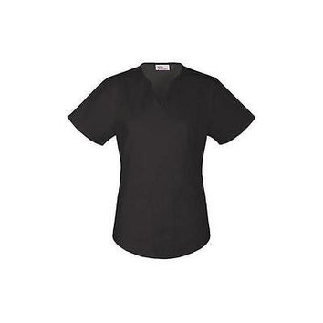 Vital Threads Women's Split V-Neck Core Scrub Top, XSmall, Black, 77948