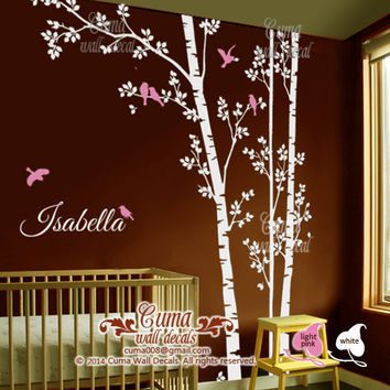 Tree and birds wall decal Nursery wall decals Monogram wall decals baby name kids room - Z149 by Cuma
