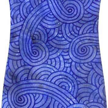 Royal blue swirls doodles Simple Dress